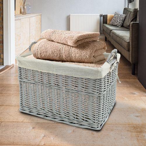 Wicker Hamper Laundry Basket - Grey