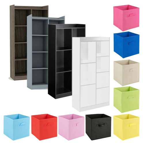 Tall Wooden Bookcase Shelves 7 Cube - 4 Colours