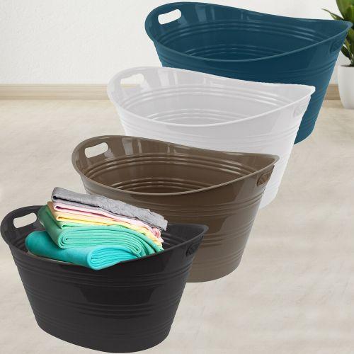 Rattan Plastic 40L Hamper Laundry Basket - 4 Colours