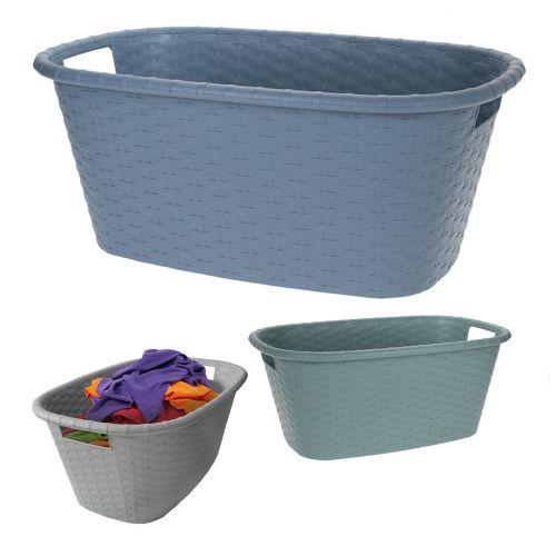 Rattan Plastic Hamper Laundry Basket 38L - 3 Colours