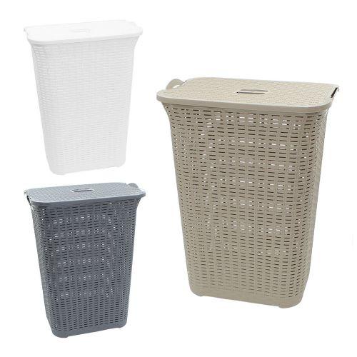 Rattan Plastic Laundry Basket 75L - 3 Colours