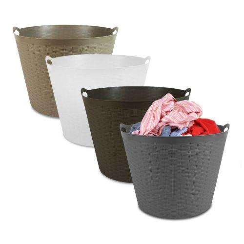 Plastic Hamper Laundry Basket 30L - 4 Colours