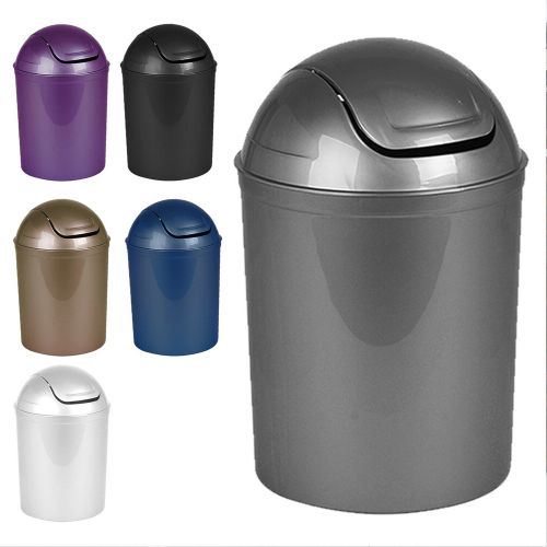 Plastic Swing Lid Rubbish Bin 5L - 6 Colours