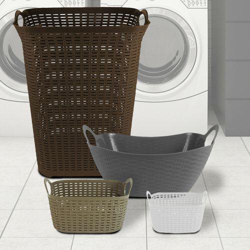 Rattan Plastic Laundry Basket Various Colours - 4 Sizes