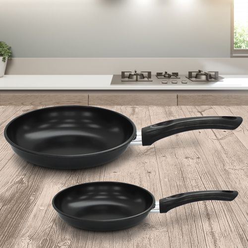 Non Stick Carbon Steel 2 Piece Frying Pan Set - Black