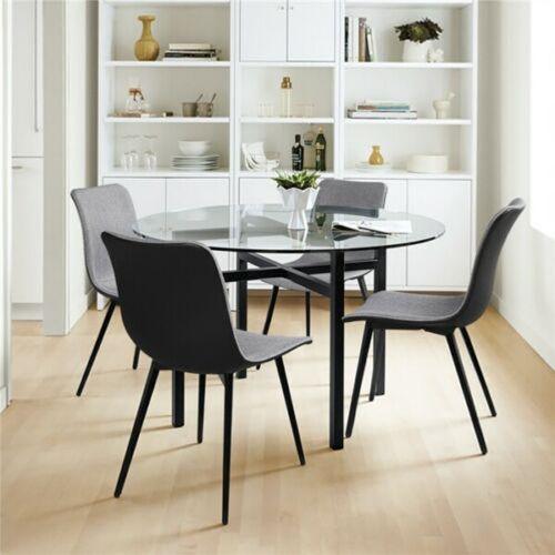 Elegant Fabric Tulip Dining Chairs 4pcs - Gray