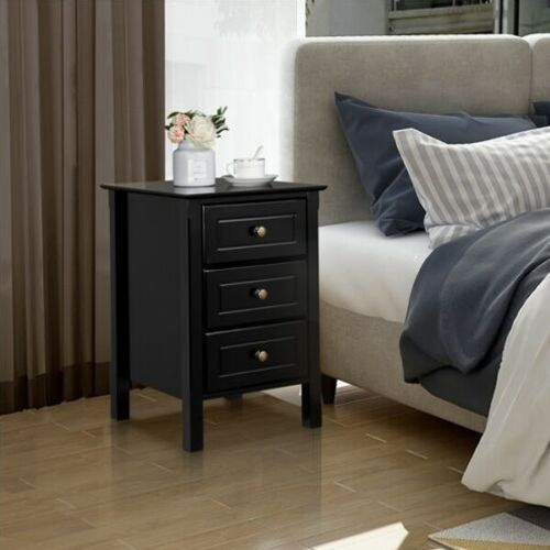 Stylish 3 Drawers Bedside Table - Black