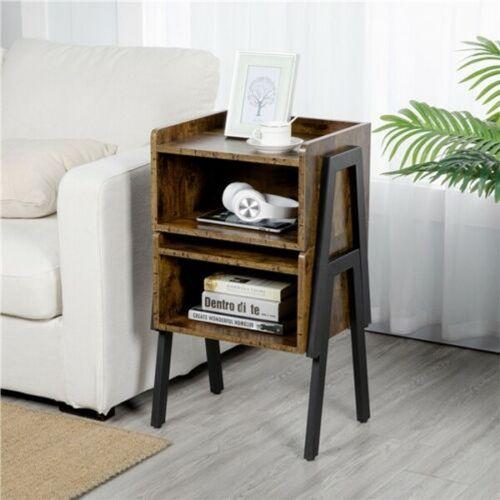 Modern Wooden Bedside Tables Set of 2 - Brown