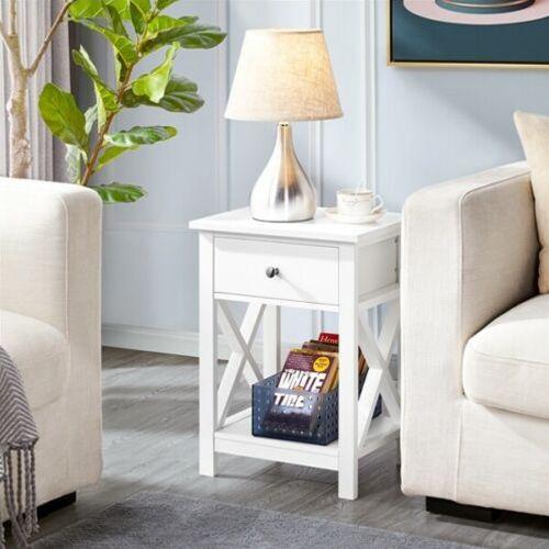Elegant X-Shaped Bedside Table - White