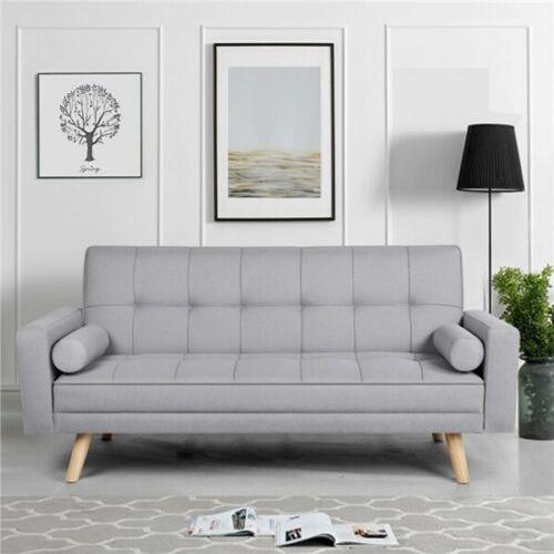 Elegant Fabirc Click Clack 3 Seater Sofa Bed - Grey