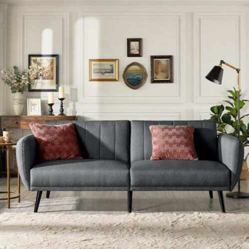 Modern Fabric Ribbed-Tufted 3 Seat Sofa Bed - Grey
