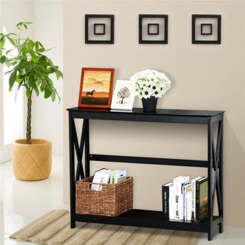 Elegant X-Shaped Console Table 2 Tiers - Black