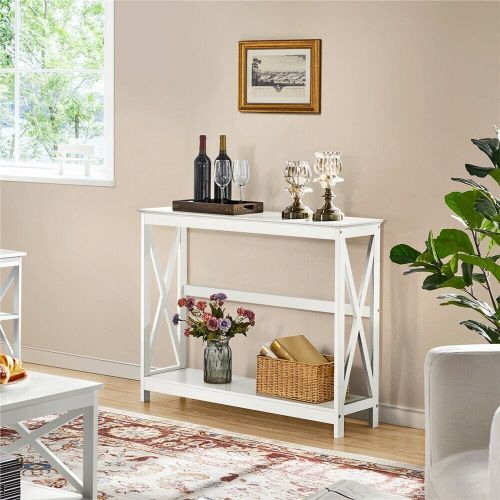 2-Tier X-Shaped Wooden Console Table - White