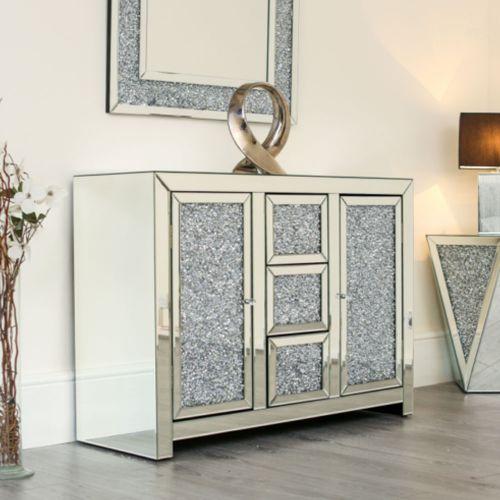 Mirrored 6 Drawer Sideboard Crushed Diamond - Various Styles