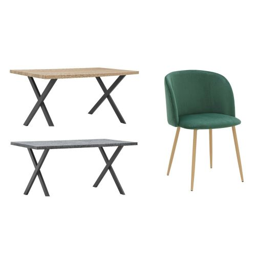 Dining Table Set 2,4 and 6 Wooden Velvet Chairs Oak and Concrete