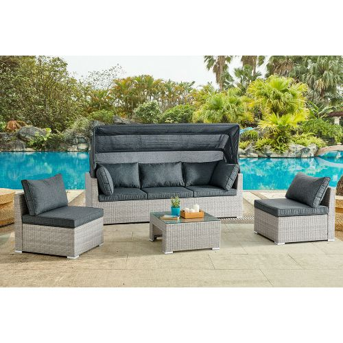Rattan Garden Lounge Set with Canopy - 2 Colours