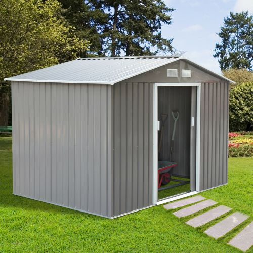 Galvanised 2 Door Metal Garden Shed - Grey