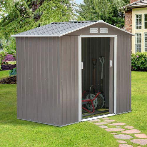 Galvanised 2 Door Metal Garden Shed  - 7/4FT