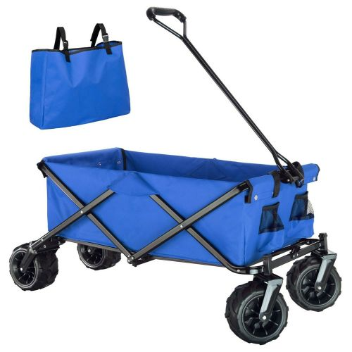 Garden Foldable Pull Along Trailer with Carry Bag - Blue Colour