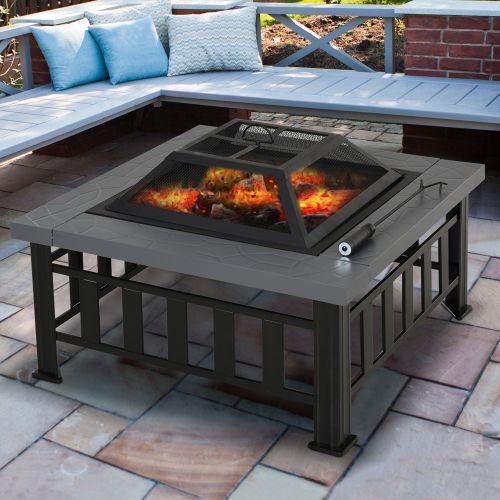 Elegant Metal Backyard Fire Pit Set - Black