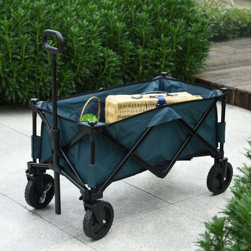 Garden Foldable Wagon Collapsible Trolley Oxford Steel