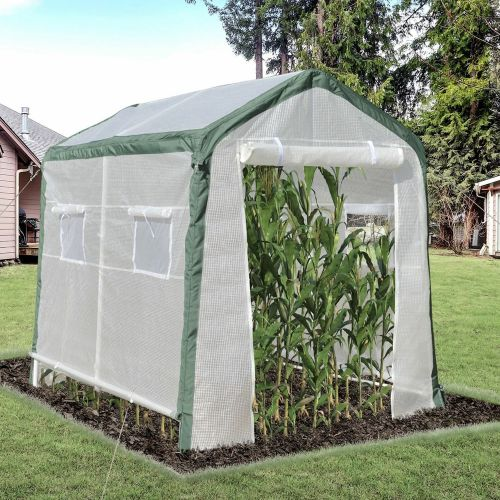 4 Windows Greenhouse With Roll Up Door - White