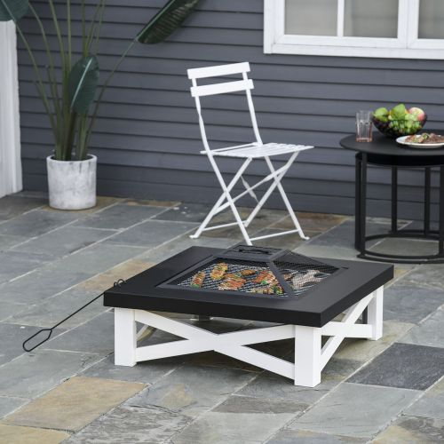 Square Table Fire Pit With Poker Mesh Cover Log Grate