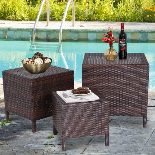 Rattan Three Piece Garden Stacking Table - Brown