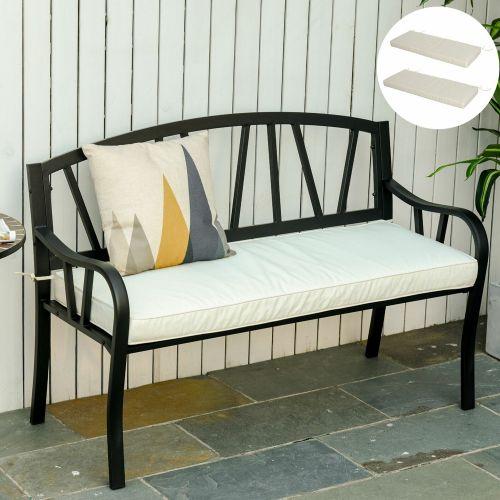 2 Seater Garden Cushion Seat - White