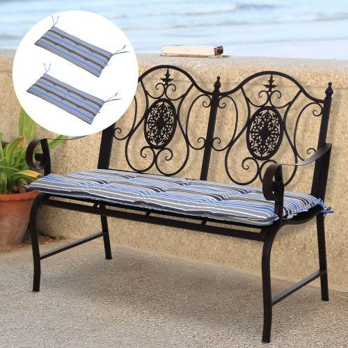 2 Seat Garden Bench Cushion Mat Strips Blue - 2 PCS