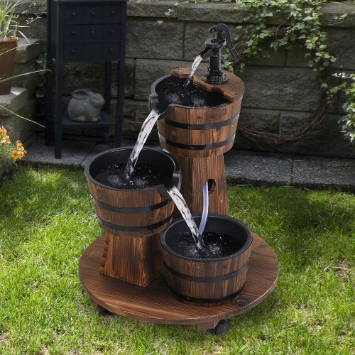Rustic Wooden Barrel Waterfalls With Pump