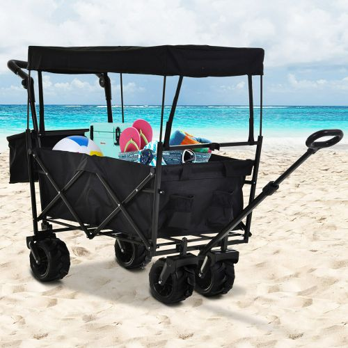 Foldable Pull Wagon Trolley With Canopy - Black