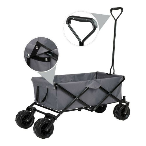 Garden Foldable Pull Along Trailer with Carry Bag - Grey Colour