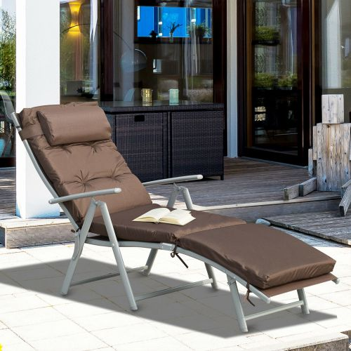 Foldable Chaise Sun Lounger With Padded Seat - Brown