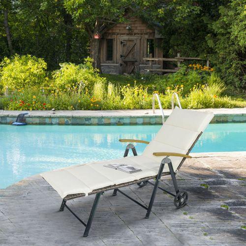 Rattan Adjustable Wicker Chaise Sun Lounger - Cream