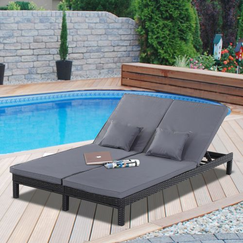 Adjustable Rattan 2 Person Double Chaise Sun Lounger With Cushion - Black
