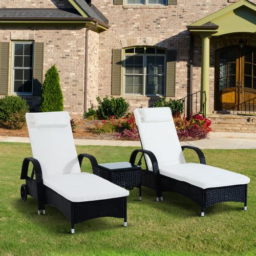 Rattan Recliner Sun Lounger With Table 3 PCs - Cream/Black