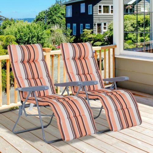 2 Adjustable Sun Lounger With Cushion - Orange/White