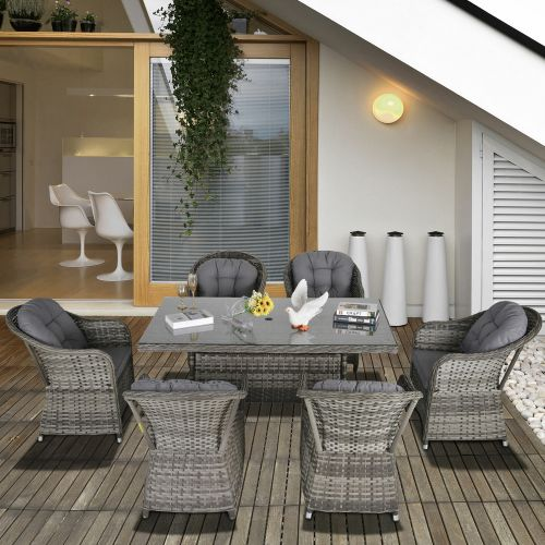 Rattan Garden Table Chairs Set With Tempered Glass 7PCs - Grey