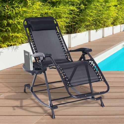 Foldable Recliner Zero Gravity Sun Lounger - Black