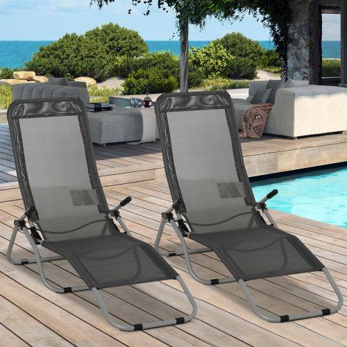 Foldable Recliner Sun Lounger Set of 2 - Grey
