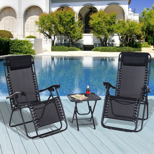 3PCs Reclining Sun Lounger With Table - Black