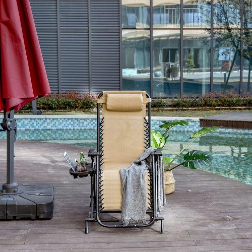 Foldable Recliner Garden Chair - Beige