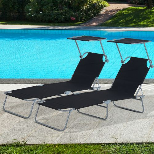 Recliner Sun Lounger With Top Canopy 2PCs - Black