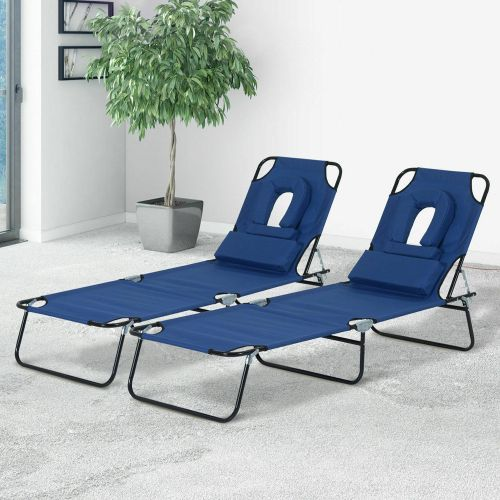 Foldable Recliner Sun Lounger Set Of 2 - Blue