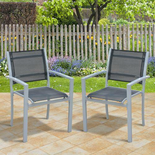 Texteline Steel Frame Garden Chairs Set Of 2 - Grey/Black