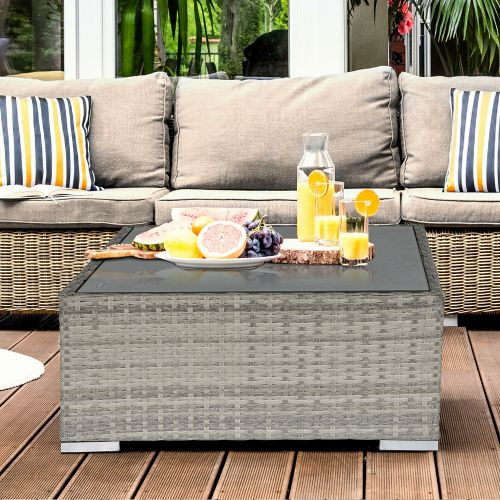 Rattan Wicker Garden Table With Glass Top - Grey
