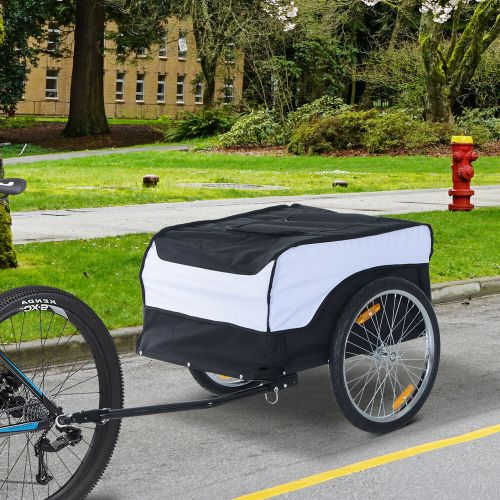 Folding Bicycle Storage Trailer With Hitch - White/Black