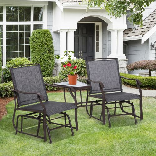 Double Companion Glider Rocking Chairs With Table - Grey
