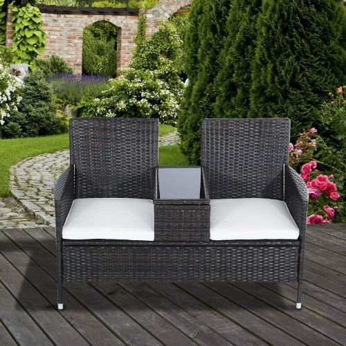 Rattan Wicker 2 Seater Garden Chair With Table - Brown